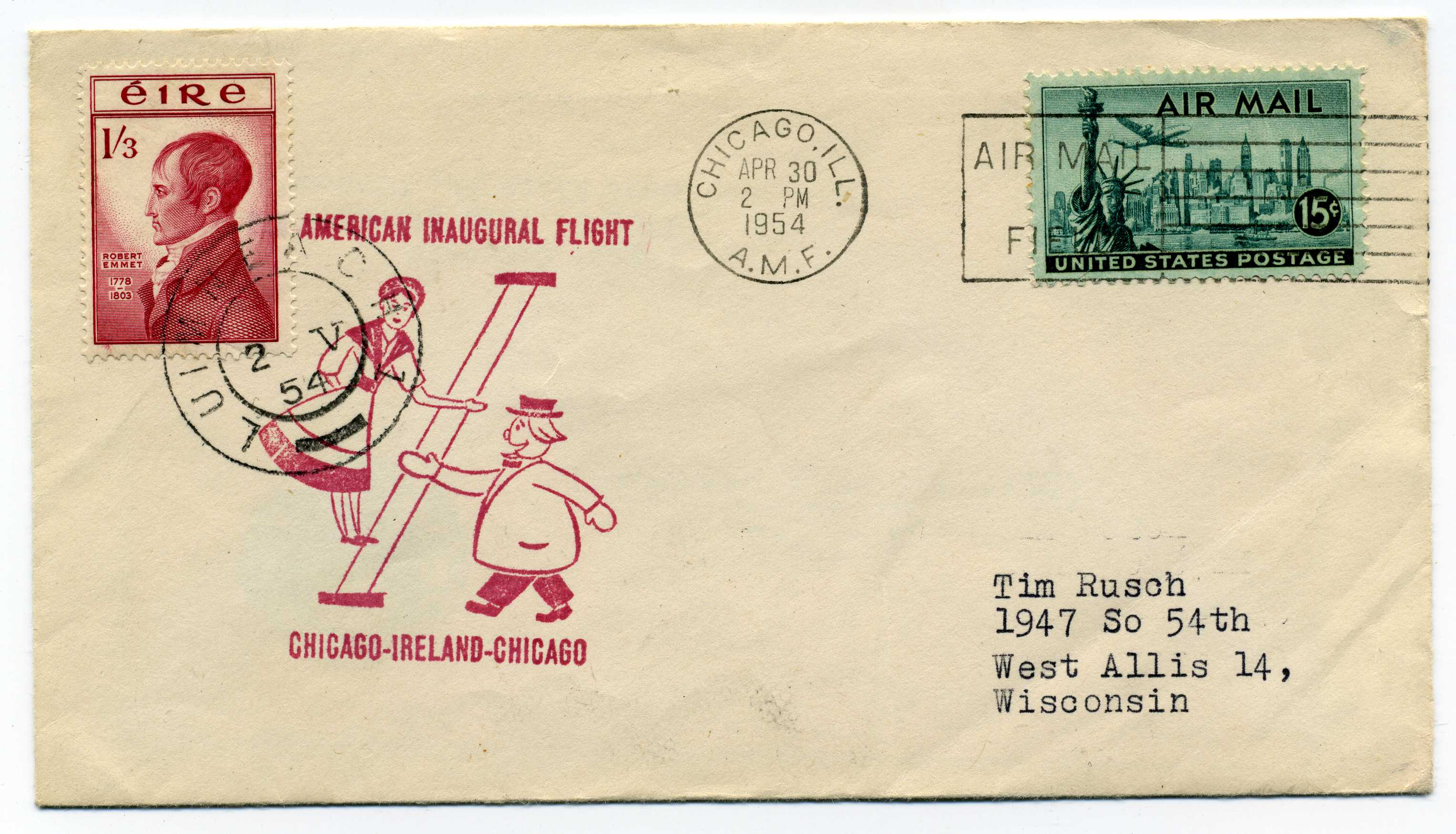 Irish stamps from raven stamps first flight covers image 1954 flight cover chicago publicscrutiny Choice Image